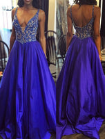A-line Top Beaded Long Prom Dress Wedding Party Dress Formal Dress PDS0473