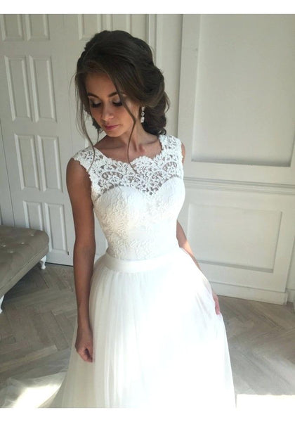 Appliqued A-line Wedding Dress ,Popular Tulle Beach Wedding Dresses, Fashion Bridal Dress BDS0131