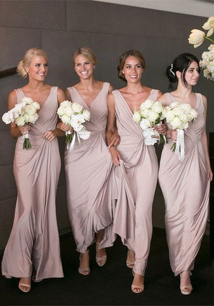V-neck Long Bridesmaid Dress,Popular Wedding Party Dress PDS0698