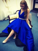 Royal Blue High Low Prom Dress V Neckline,Evening Party Dress, Back to School Dress For Teens PDS0553