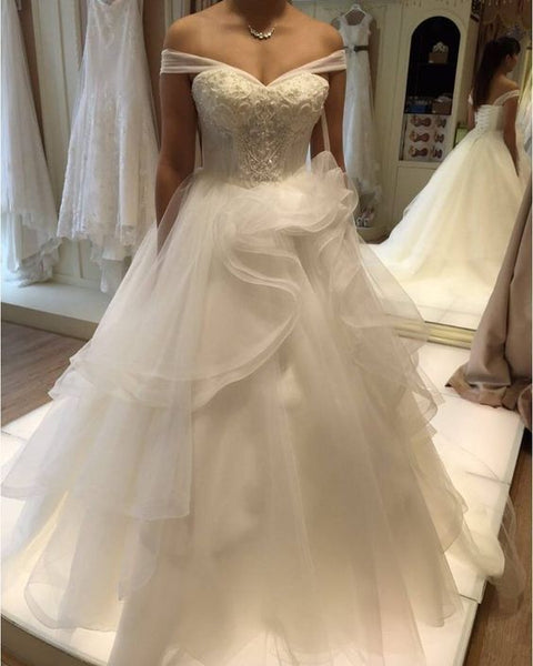 Off the Shoulder A-line Wedding Bridal Dresses With Applique and Beading ,Vestidos de Novia BDS0335