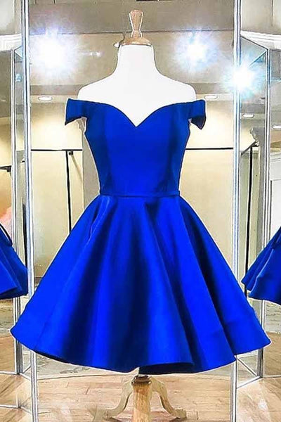 Off the Shoulder Royal Blue Satin Homecoming Dress, Custom Made Hoco Dresses, Short Prom Dress, Back to School Party Dance Dress, Pageant Dress, PDS0857