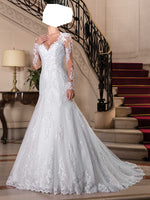 Mermaid Long Sleeves Wedding Dress,Popular Bridal Dress With Appliques and Beadings BDS0199