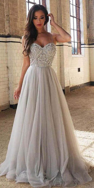 cac5197221 A-line Beading Long Prom Dresses