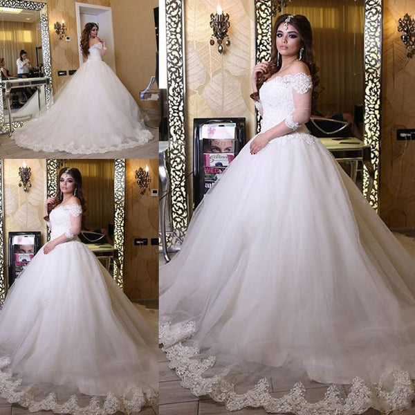 Off the Shoulder Ball Gown Wedding Dress with Sleeves, Appliqued Bridal Dresses, Vestidos de Novia BDS0601