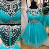 See Through Back Short Beading Homecoming Dress , Short Prom Dress, PDS0047