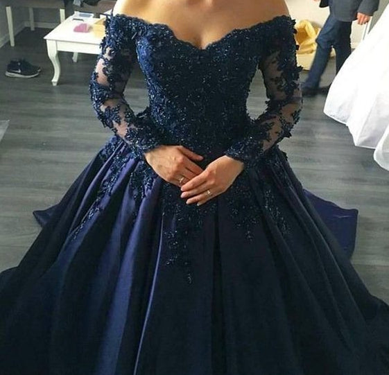 Off the Shoulder Lace/Satin Ball Gown Wedding Dress with Long Sleeves,Fashion Ball Gown Bridal Dresses, Custom Made Wedding dress BDS0636
