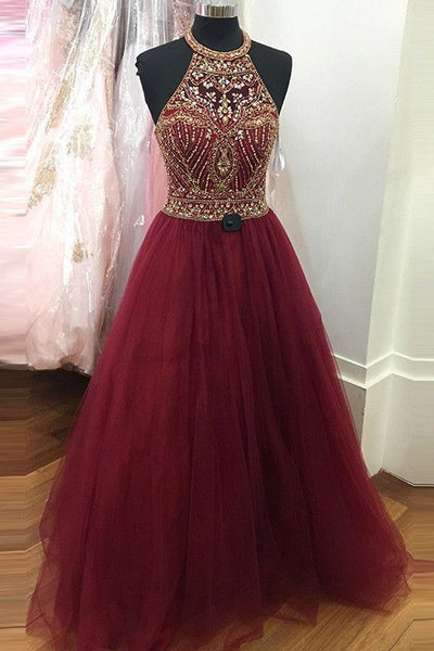 Burgundy Top Beaded Tulle Long Prom Dress Wedding Party Dress Formal Dress PDS0476