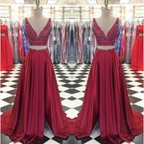 Deep V-neck Two Pieces Long Prom Dress, Fashion Beaded Pageant Dress, Burgandy School Party Dress, Fashion Evening Dress PDS0826