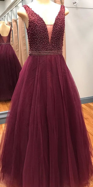 Gorgeous prom dresses, 2018 long prom dress, beaded burgundy long prom dress formal evening dress PDS0399