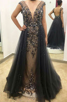 Open Back Long Prom Dresses With Beading ,Fashion Winter Formal Dress, School Dance Dress PDS1043