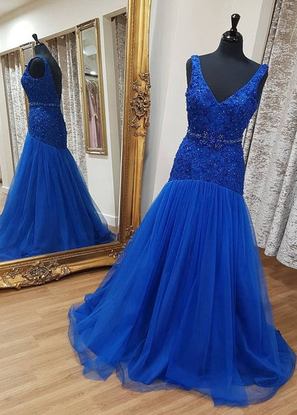 V-Neck Fashion Beaded Long Prom Dress ,Party Dress ,Formal Dress, PDS0531