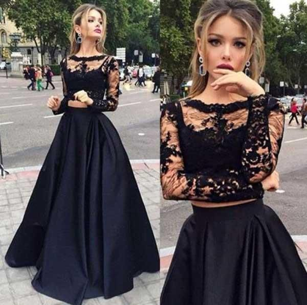 Two Pieces Lace Top And Satin Long Prom Dress Long Sleeves Party Dress PDS0542