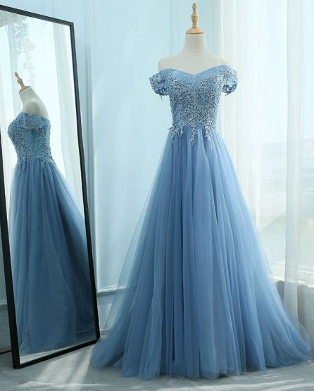 Off Shoulder Long Prom Dress with Applique and Beading,Sweet 16 Dress, Pageant Dress, Wedding Party Dress PDS1082