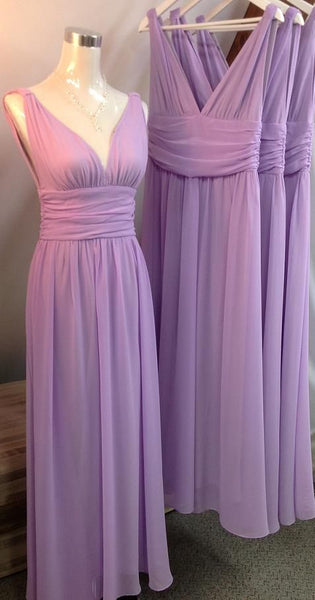 V-neck A-line Simple Long Bridesmaid Dress,Popular Wedding Party Dress PDS0702
