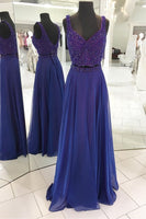 Beaded Prom Dress, 2018  Long Prom Dress, Two Piece Royal Blue Long Prom Dress PDS0398