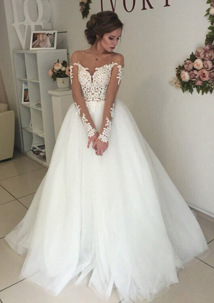 Open Back 2019 Wedding Dress with Sleeves ,Bridal Dress ,Custom Made Dress For Wedding BDS0700