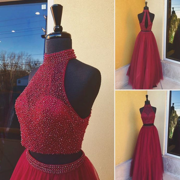 Two Pieces Burgundy Long Beaded Prom Dress, Fashion Pageant Dress, School Party Dress, Fashion Evening Dress PDS0831