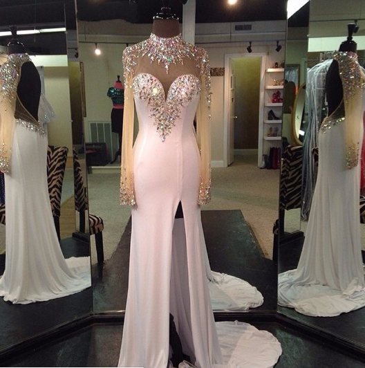 Open Back Beaded Long Prom Dress ,Wedding Party Dress,Popular Cocktail Dress,Fashion Evening Dress  PDS0186