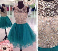 Beaded Short Tulle Homecoming Dress , Short Prom Dress, PDS0062