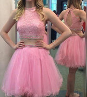 Two Piece Lace and Tulle Homecoming Dress with Beading , Short Prom Dress, PDS0063