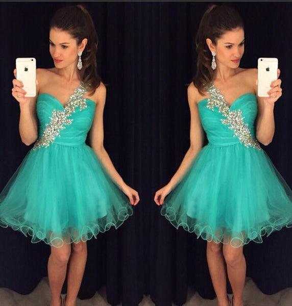 One Shoulder Tulle Homecoming Dress with Beading , Short Prom Dress, PDS0069