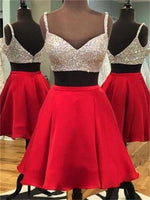 Two Pieces Sex Homecoming Dress with Beading , Short Prom Dress, PDS0070