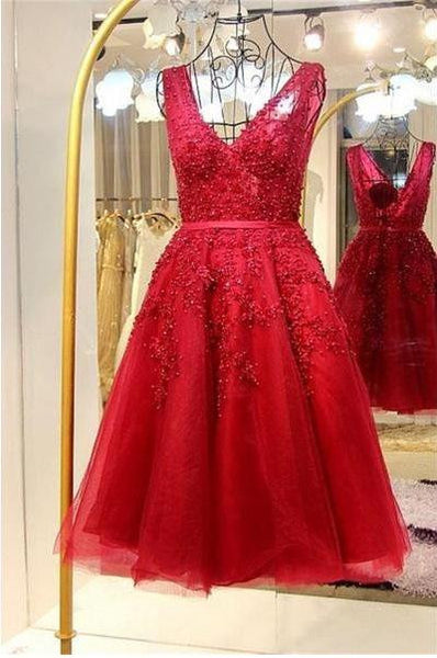 V-neck Homecoming Dress with Applique and Beading, Short Prom Dress, PDS0074