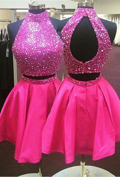 Two Piece Open Back Homecoming Dress with Beading, Short Prom Dress, PDS0079