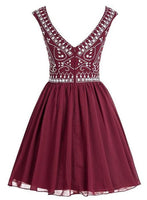 Short Chiffon Homecoming Dress With Beading, Short Prom Dress  PDS0081