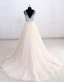 V-neck Real Photo Backless Ball Gown Wedding Dress With Applique ,Popular Bridal Dress BDS0080