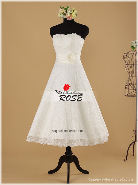 Strapless Short Real Photo Lace Wedding Dress Reception Bridal Dresses BDS0478