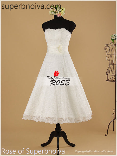 Strapless Short Real Photo Lace Wedding Dress Reception Bridal Dresses BDS0453