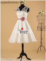 V-neck Short Real Photo Wedding Dress Reception Bridal Dresses BDS0457