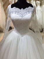Fashion Real Photo Ball Gown Wedding Dress With Long Sleeves,Popular Bridal Dress With Applique BDS0134