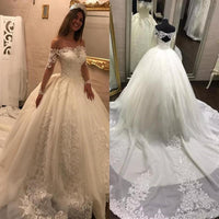 Off the Shoulder Ball Gown Wedding Dress, Fashion Custom Made Bridal Dresses, Plus Size Wedding dress BDS0623