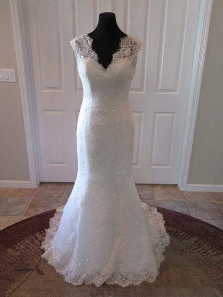 V-neck Mermaid Lace Wedding Dress,Popular Bridal Dress With Beadings BDS0126
