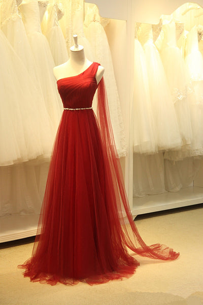 One Shoulder Red Long Prom Dress ,Wedding Party Dress,Popular Cocktail Dress,Fashion Evening Dress  PDS0166