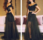 Black Two Piece Long Prom Dress ,Wedding Party Dress,Popular Cocktail Dress,Fashion Evening Dress  PDS0170
