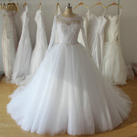 A-line Ball Gown Wedding Dress With Sleeves ,Popular Bridal Dress With Applique BDS0224