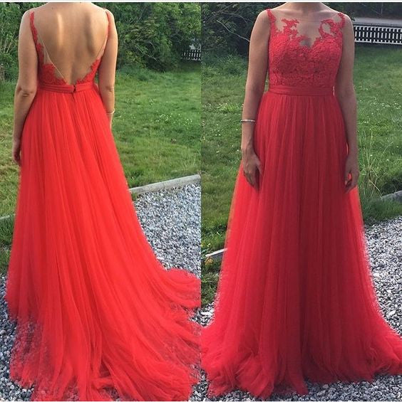 V-back Tulle Long Prom Dress With Applique ,Popular Wedding Party Dress,Cocktail Dress, PDS0324