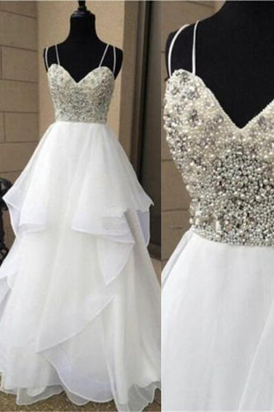 White Beading Long Prom Dress,Popular Wedding Party Dress,Cocktail Dress, PDS0335
