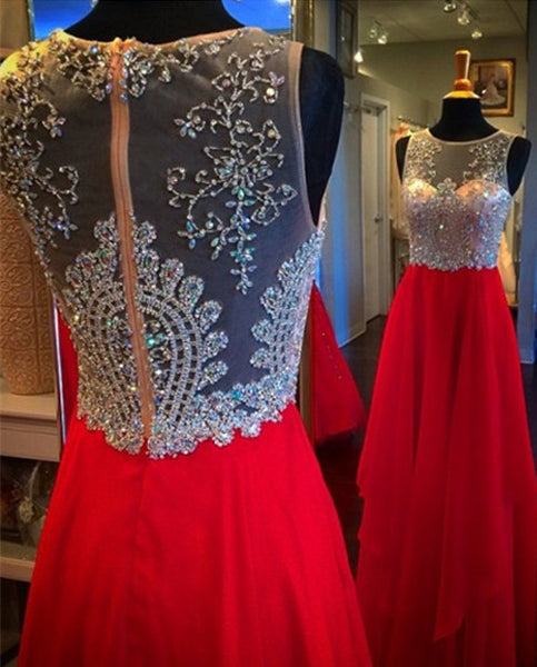 A-line Long Prom Dress With Beading,Popular Wedding Party Dress,Cocktail Dress, PDS0352