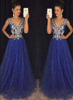 A-line Long Prom Dress With Beading,Popular Wedding Party Dress,Cocktail Dress, PDS0353