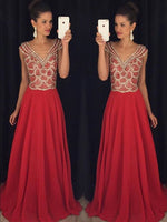 A-line Long Prom Dress With Beading,Popular Wedding Party Dress,Cocktail Dress, PDS0354
