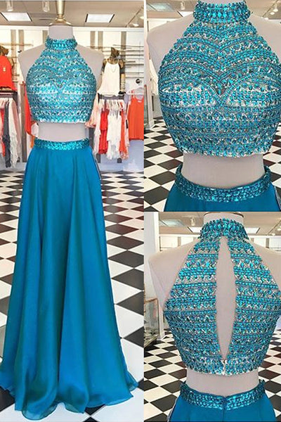 Open Back Two Piece Long Prom Dress With Beading,Popular Wedding Party Dress,Cocktail Dress, PDS0359