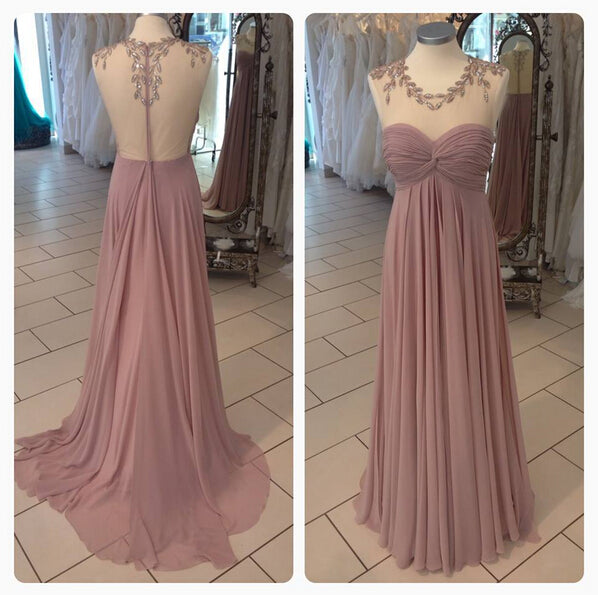 A-line Chiffon Long Prom Dress With Beading,Popular Wedding Party Dress,Cocktail Dress, PDS0361