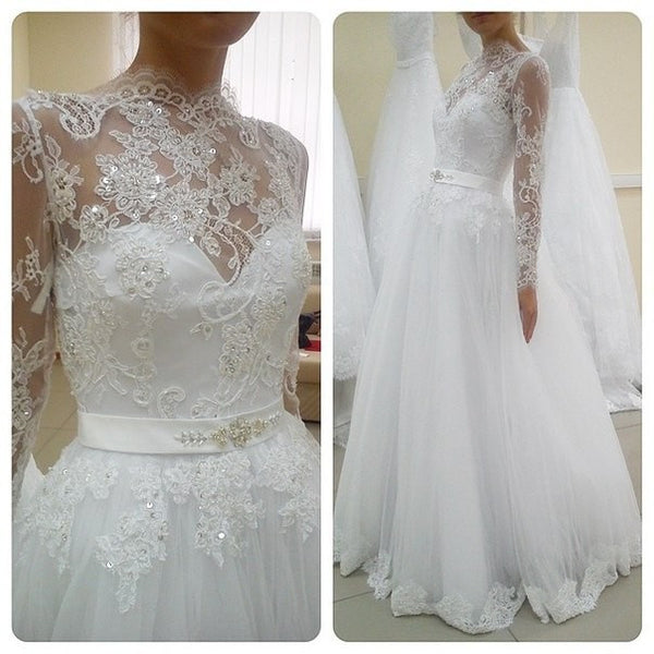 A-line Tulle Wedding Dress With Applique ,Popular Bridal Dress BDS0117