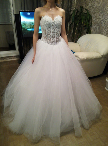 Sweetheart Sex Ball Gown Wedding Dress With Pearls,Popular Bridal Dress With Applique BDS0118