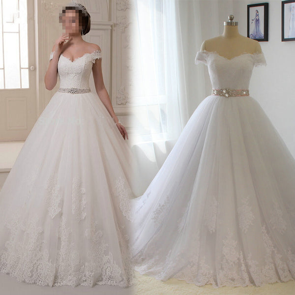 Fashion Off the Shoulder Ball Gown Wedding Dress,Popular Bridal Dress With Appliques and Beading  BDS0141